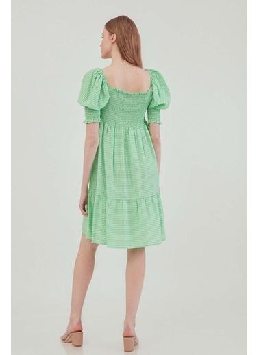 Vitrin Gipeli Kare Yaka Country Elbise Yeşil